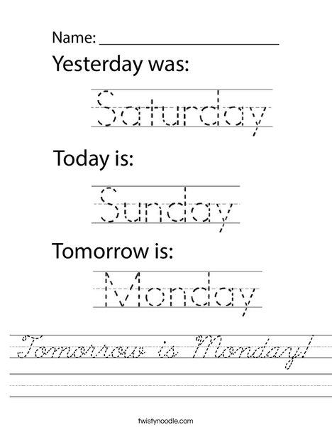 Tomorrow is Monday! Worksheet