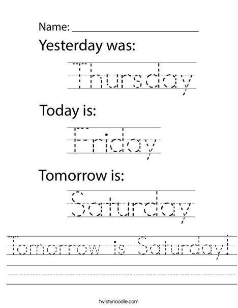 Tomorrow is Saturday! Worksheet