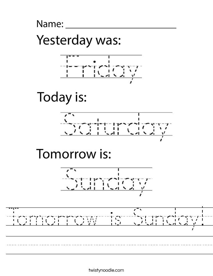 Tomorrow is Sunday! Worksheet