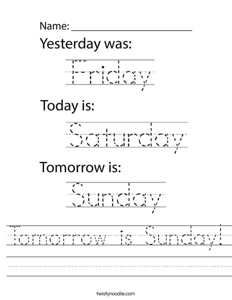 Tomorrow is Sunday! Worksheet