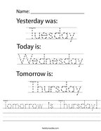 Tomorrow is Thursday Handwriting Sheet