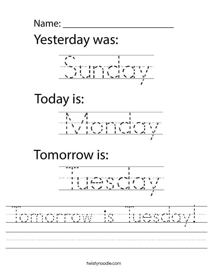 Tomorrow is Tuesday! Worksheet