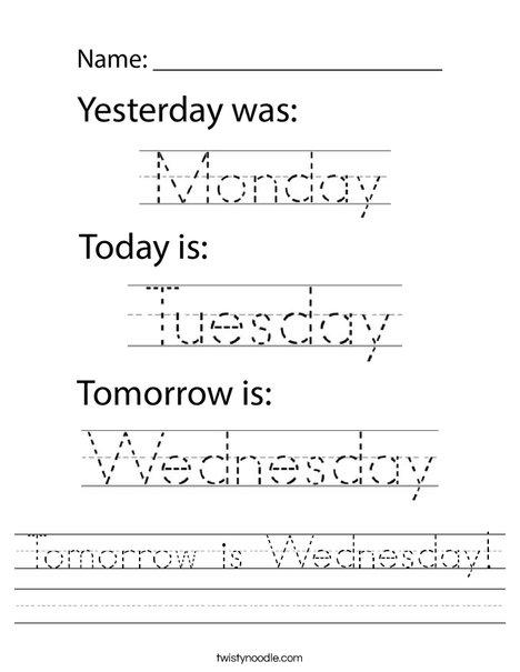 Tomorrow is Wednesday! Worksheet