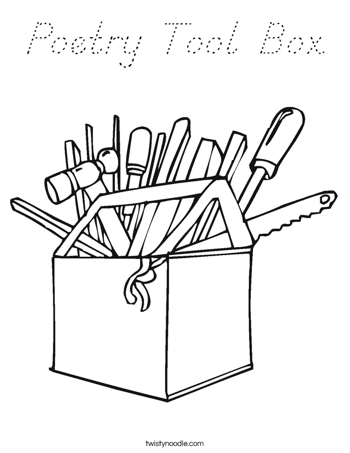 Poetry Tool Box Coloring Page