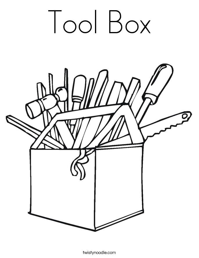 twisty noodle coloring pages - tool box coloring page twisty noodle