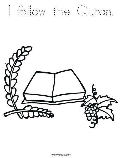 I follow the Quran Coloring Page - Tracing - Twisty Noodle