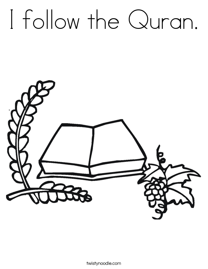 I follow the Quran. Coloring Page