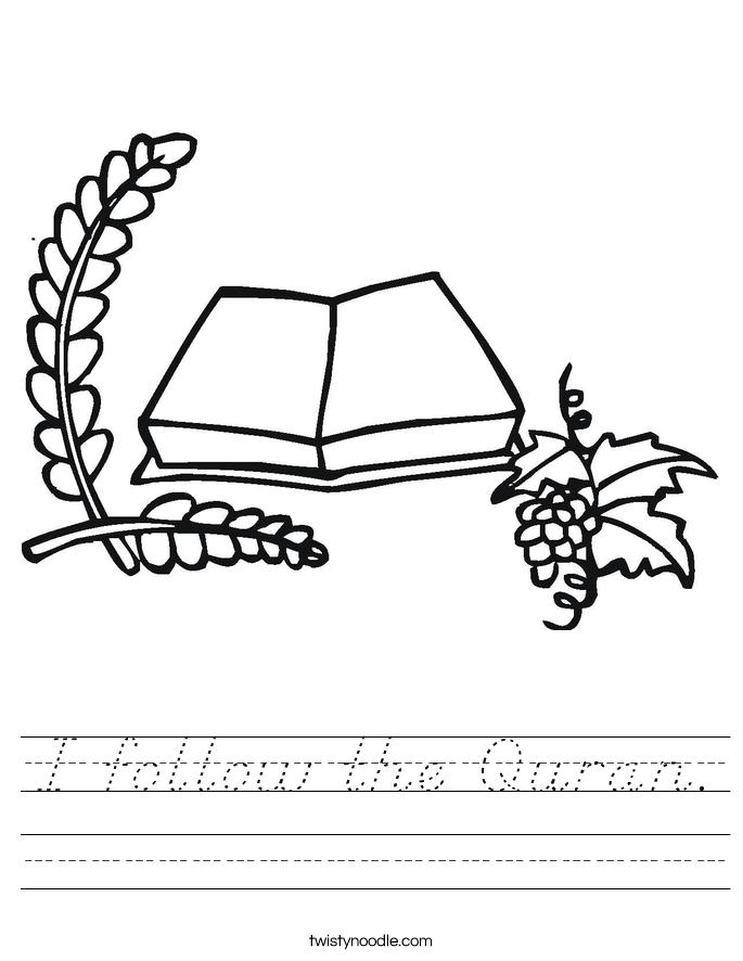 I follow the Quran. Worksheet