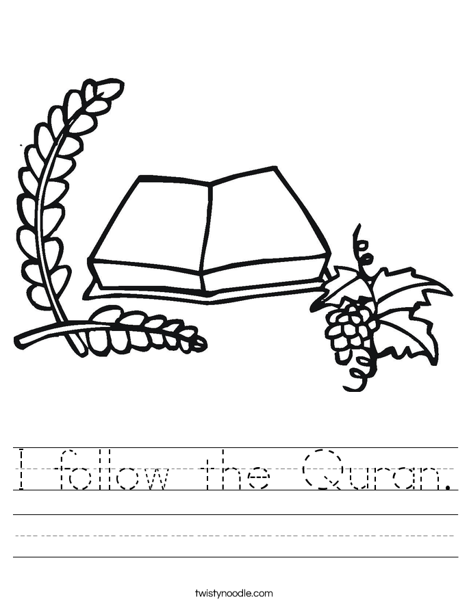 I follow the Quran. Worksheet
