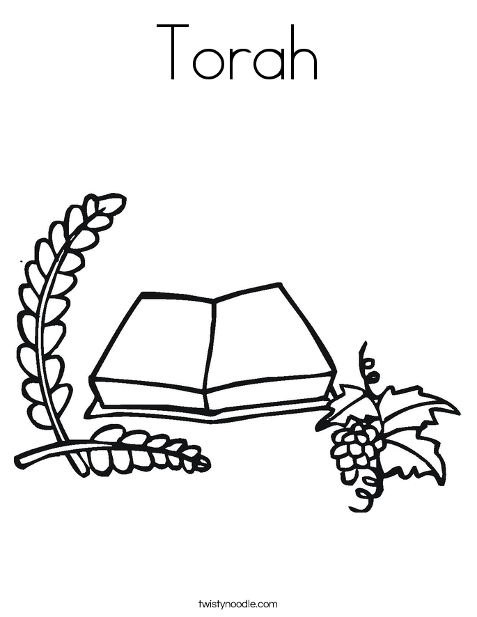 Torah coloring page twisty noodle for Torah coloring pages
