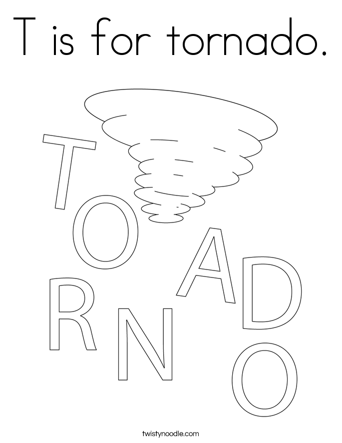 T is for tornado Coloring Page Twisty Noodle