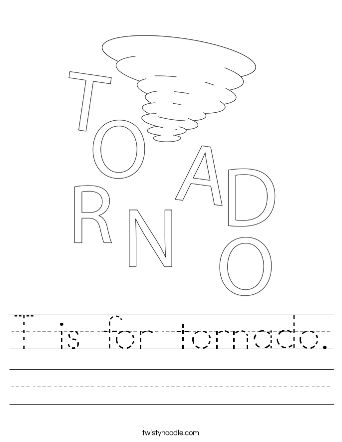 T is for tornado. Worksheet