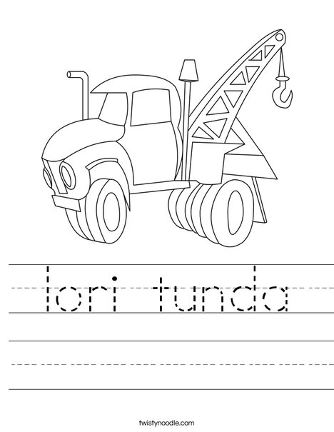 Tow Truck Worksheet