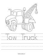 Tow Truck Handwriting Sheet