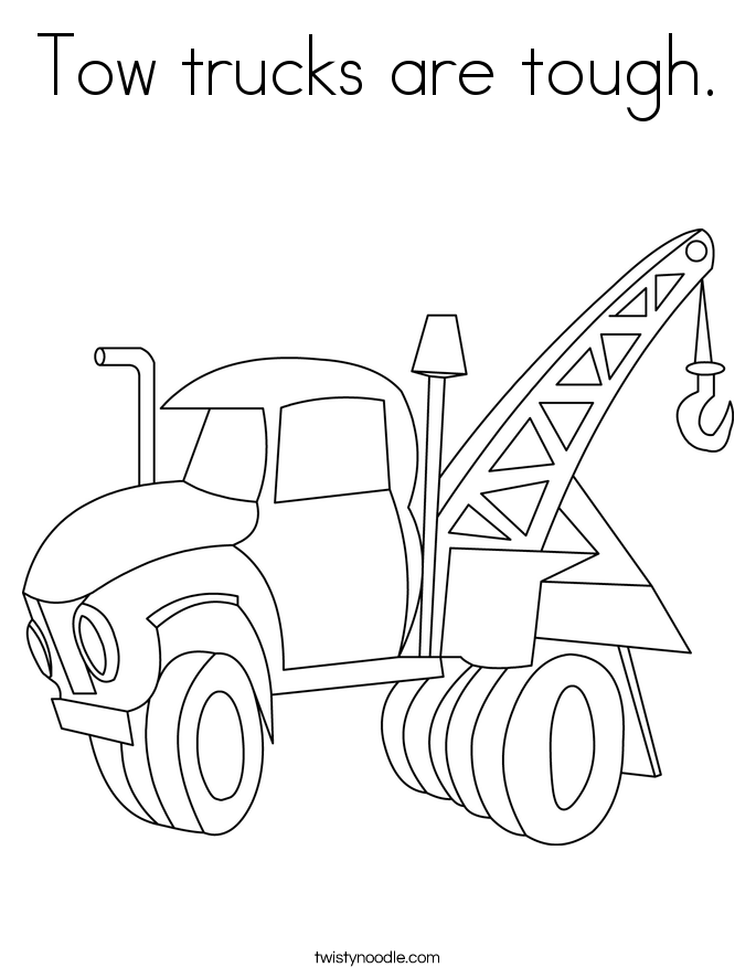Tow trucks are tough. Coloring Page