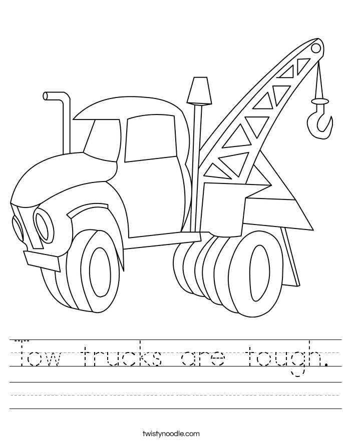 Tow trucks are tough. Worksheet