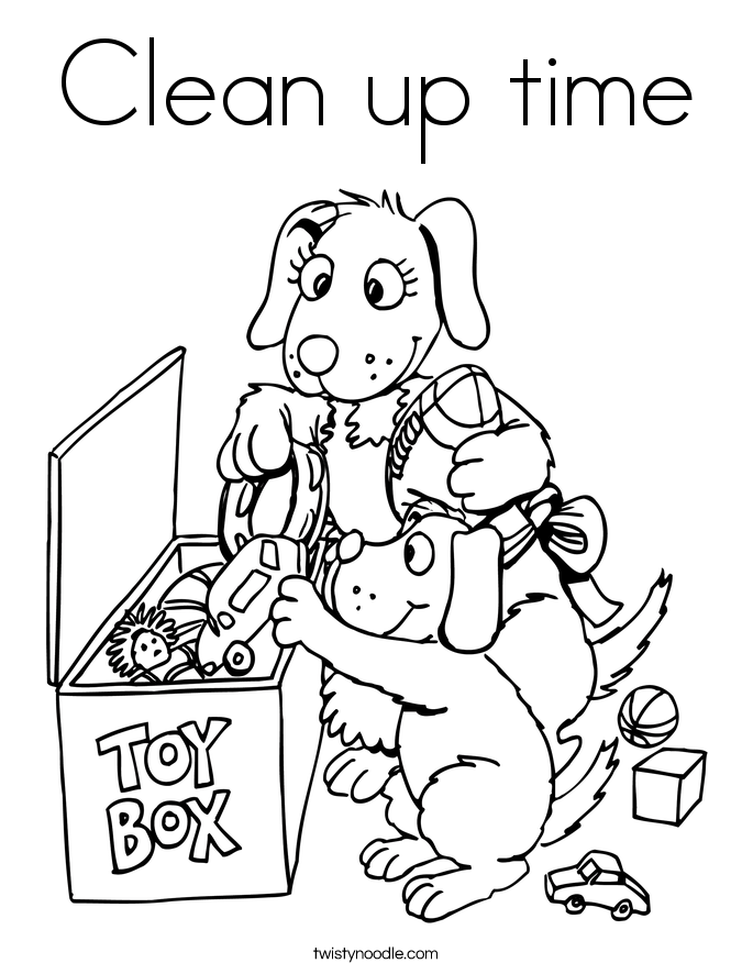 Clean up time Coloring Page