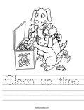 Clean up time Worksheet