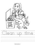 Clean up time Handwriting Sheet