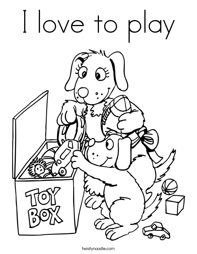 I love to play Coloring Page
