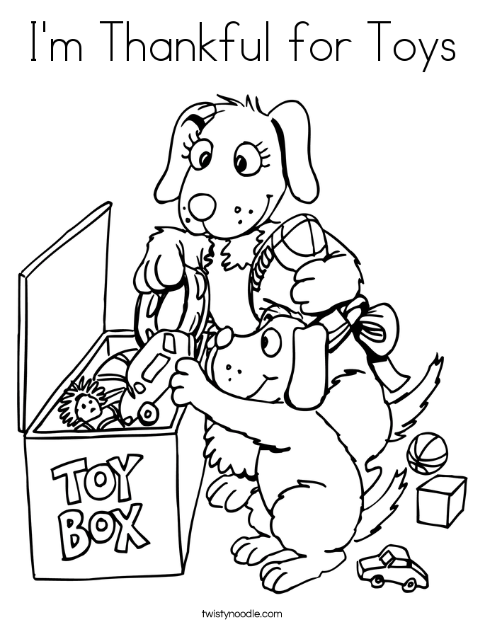 I'm Thankful for Toys Coloring Page