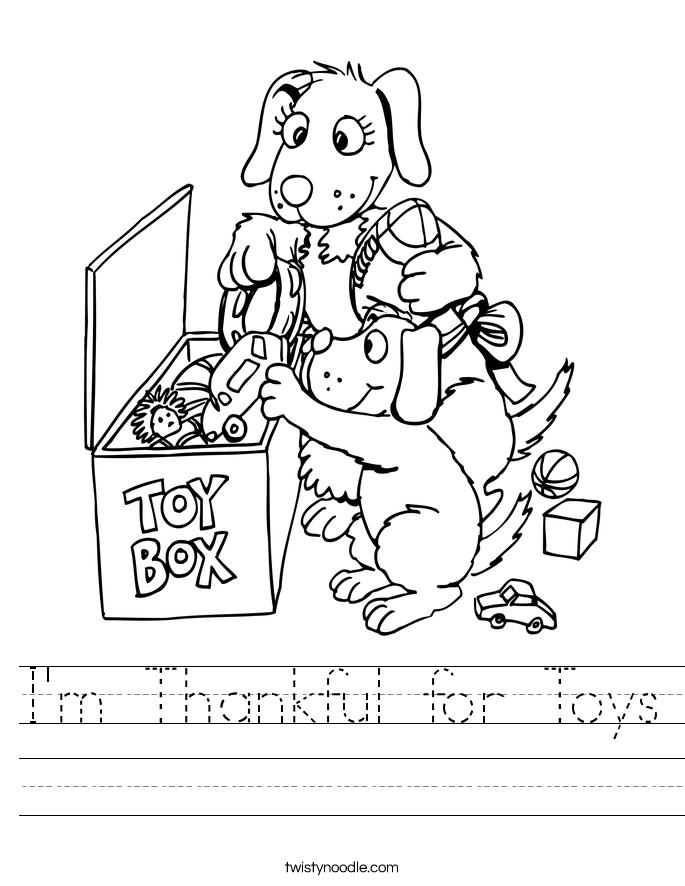 I'm Thankful for Toys Worksheet