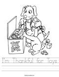 I'm Thankful for Toys Worksheet