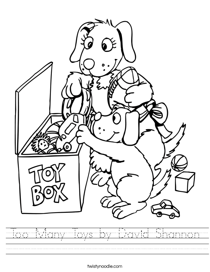Too Many Toys by David Shannon Worksheet
