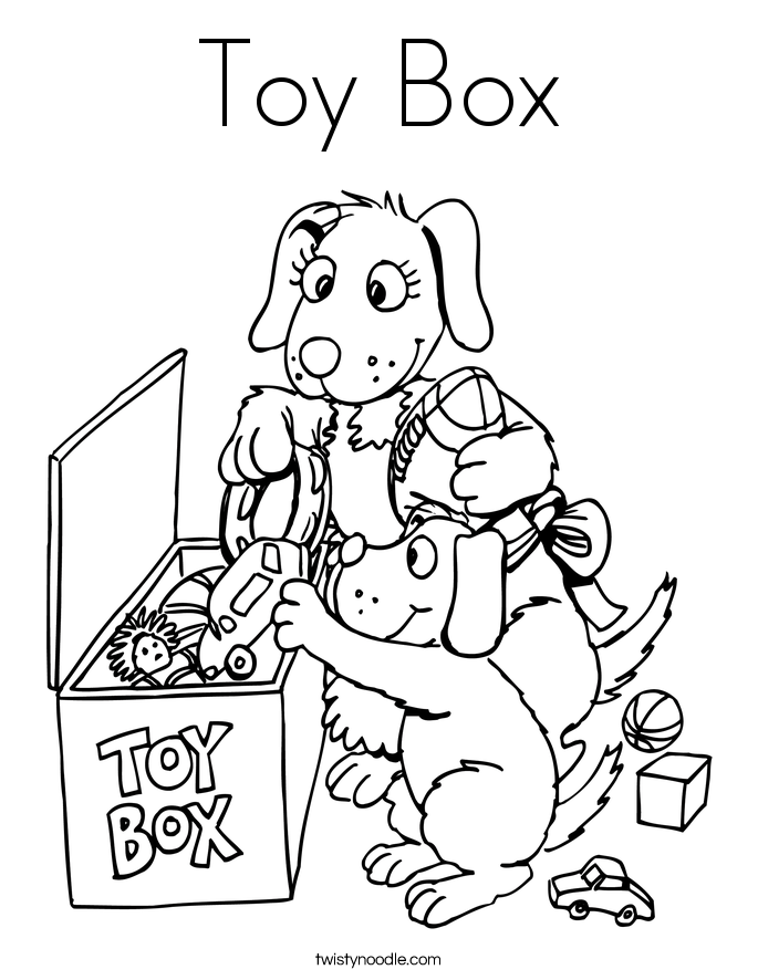 Toy Box Coloring Page Twisty Noodle