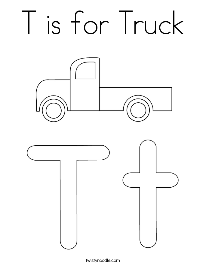 T is for Truck Coloring Page Twisty Noodle