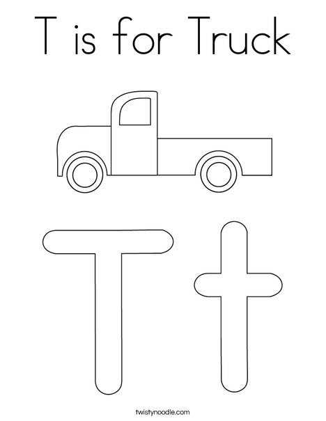 t coloring page - t is for truck coloring page twisty noodle