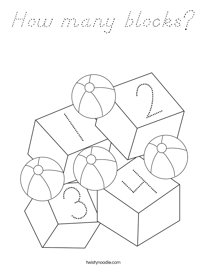 How many blocks? Coloring Page