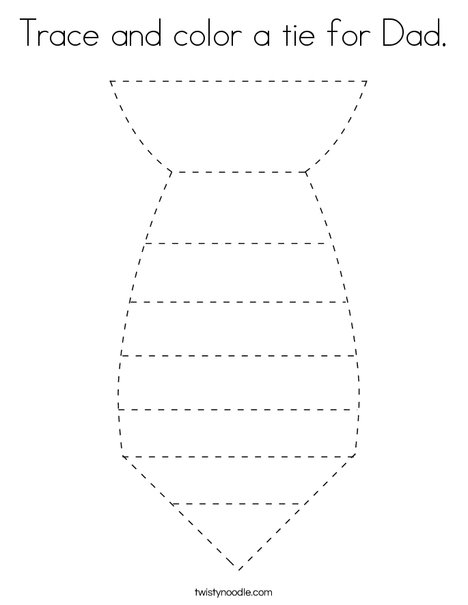 Trace and color a tie for Dad. Coloring Page