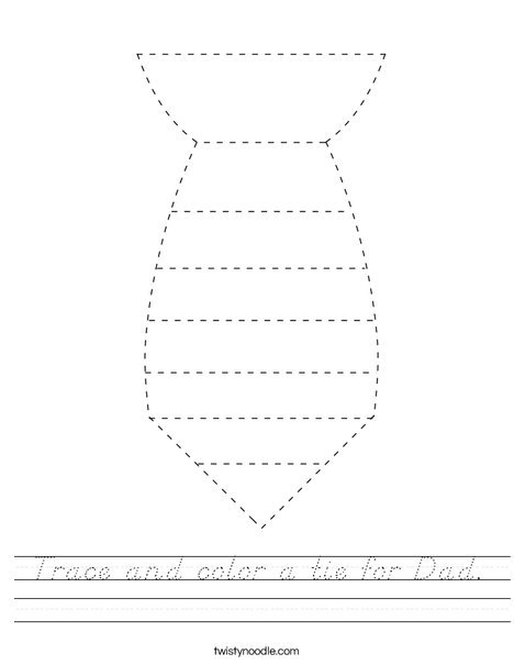 Trace and color a tie for Dad. Worksheet
