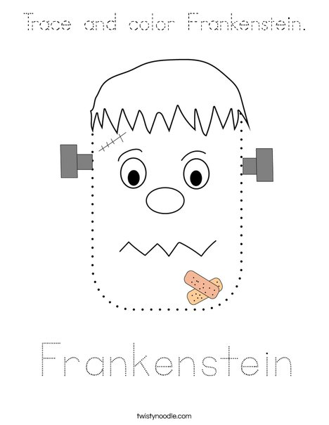 Trace and color Frankenstein. Coloring Page