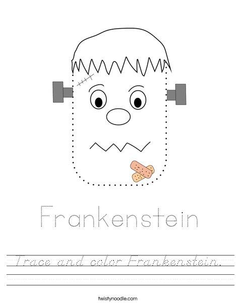 Trace and color Frankenstein. Worksheet