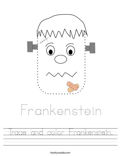 Trace and color Frankenstein. Worksheet