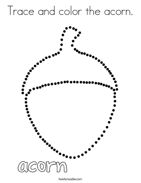Trace and color the acorn. Coloring Page