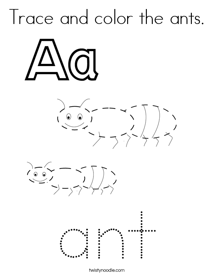 Trace and color the ants. Coloring Page