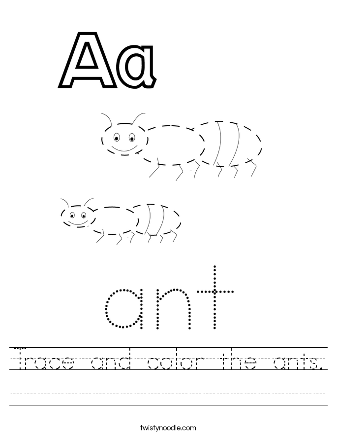 Trace and color the ants. Worksheet