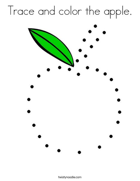 Trace and color the apple. Coloring Page