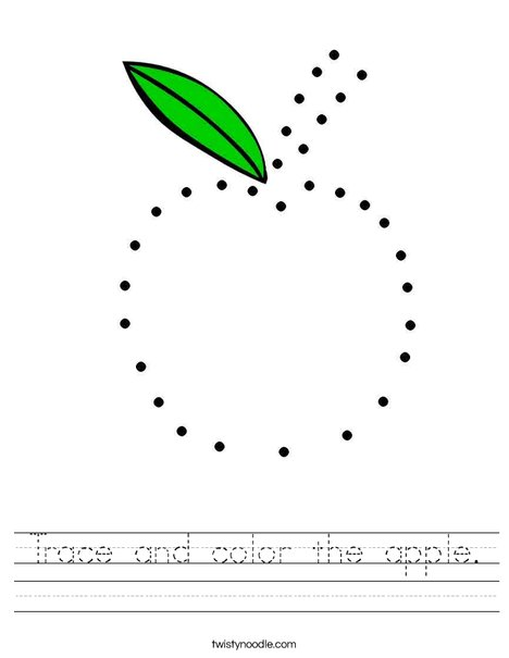 Trace and color the apple. Worksheet