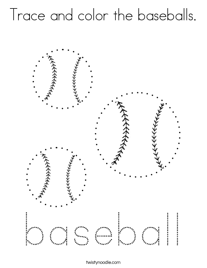 Trace and color the baseballs. Coloring Page