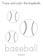 Trace and color the baseballs Coloring Page