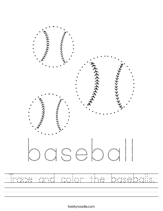 Trace and color the baseballs. Worksheet