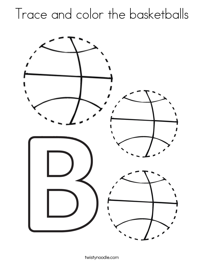 Trace and color the basketballs Coloring Page