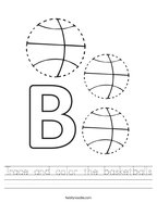 Trace and color the basketballs Handwriting Sheet