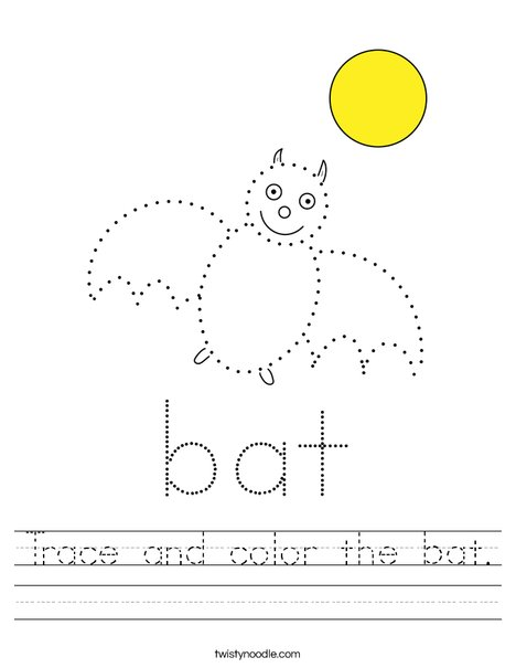 Trace and color the bat. Worksheet