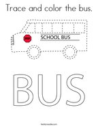 Trace and color the bus Coloring Page