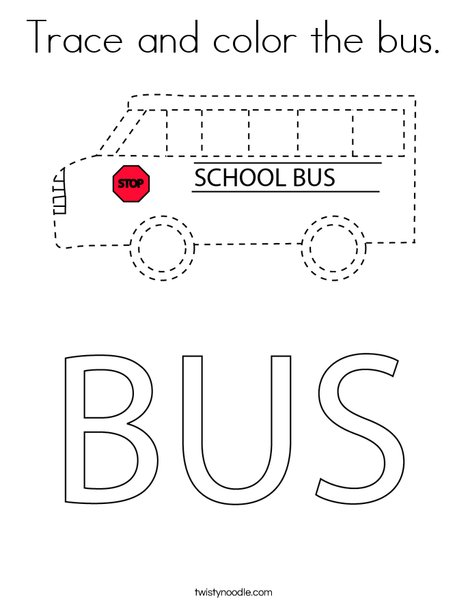 Trace and color the bus. Coloring Page